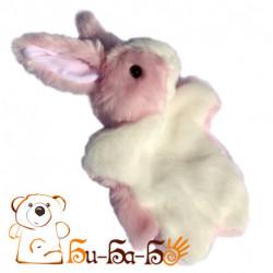 Зайчик розовый бибабо (кукла-перчатка)